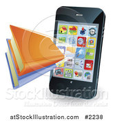 Vector Illustration of a 3d Smartphone with a Book Applic by AtStockIllustration
