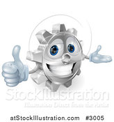 Vector Illustration of a 3d Smiling Gear Cog Holding a Thumb up by AtStockIllustration