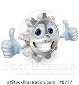 Vector Illustration of a 3d Smiling Gear Cog Holding Two Thumbs up by AtStockIllustration