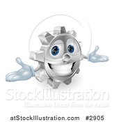 Vector Illustration of a 3d Smiling Gear Cog with Open Arms by AtStockIllustration