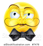 Vector Illustration of a 3d Snooty Yellow Smiley Emoji Emoticon Face with a Mustache and Bow by AtStockIllustration