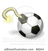 Vector Illustration of a 3d Soccer Ball Bomb by AtStockIllustration