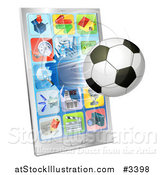 Vector Illustration of a 3d Soccer Ball Flying Through and Breaking a Cell Phone Screen by AtStockIllustration
