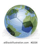 Vector Illustration of a 3d Soccer Ball Globe by AtStockIllustration