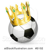 Vector Illustration of a 3d Soccer Ball with a King Crown by AtStockIllustration