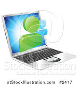 Vector Illustration of a 3d Social Media Networking Icon over a Laptop Computer by AtStockIllustration