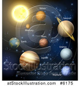 Vector Illustration of a 3d Solar System Orbiting the Sun by AtStockIllustration