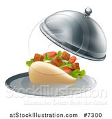 Vector Illustration of a 3d Souvlaki Kebab Sandwich Being Served in a Cloche Platter by AtStockIllustration