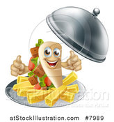 Vector Illustration of a 3d Souvlaki Kebab Sandwich Character and French Fries Being Served in a Cloche Platter by AtStockIllustration