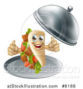 Vector Illustration of a 3d Souvlaki Kebab Sandwich Character Giving Two Thumbs up and Being Served in a Cloche Platter by AtStockIllustration