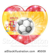 Vector Illustration of a 3d Spanish Flag Heart and Soccer Ball by AtStockIllustration