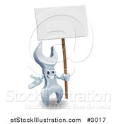 Vector Illustration of a 3d Spanner Wrench Character with a Sign by AtStockIllustration
