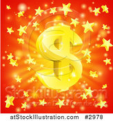 Vector Illustration of a 3d Sparkling Gold Dollar Symbol and Star Burst over Red by AtStockIllustration