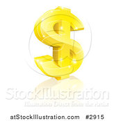 Vector Illustration of a 3d Sparkling Gold USD Dollar Currency Symbol by AtStockIllustration