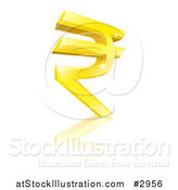 Vector Illustration of a 3d Sparkly Gold Rupee Currency Symbol and Reflection by AtStockIllustration