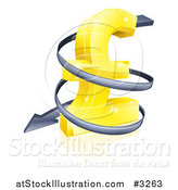 Vector Illustration of a 3d Spiraling down Arrow Around a Golden Yen Currency Symbol by AtStockIllustration