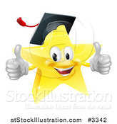 Vector Illustration of a 3d Star Graduate Mascot Holding Two Thumbs up by AtStockIllustration