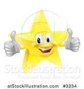 Vector Illustration of a 3d Star Mascot Holding Two Thumbs up by AtStockIllustration
