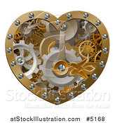 Vector Illustration of a 3d Steampunk Heart of Gears by AtStockIllustration