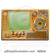 Vector Illustration of a 3d Steampunk Media Player Screen and Control Panel by AtStockIllustration