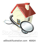 Vector Illustration of a 3d Stethoscope and House by AtStockIllustration