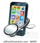 Vector Illustration of a 3d Stethoscope and Smart Phone by AtStockIllustration