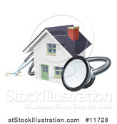 Vector Illustration of a 3d Stethoscope Around a White Home by AtStockIllustration