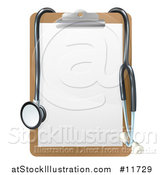Vector Illustration of a 3d Stethoscope Draped on a Clip Board by AtStockIllustration