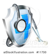 Vector Illustration of a 3d Stethoscope Draped on a Medical Shield by AtStockIllustration