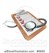 Vector Illustration of a 3d Stethoscope on a Medical Records Clipboard by AtStockIllustration
