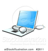 Vector Illustration of a 3d Stethoscope Resting on a Laptop Computer by AtStockIllustration