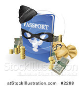 Vector Illustration of a 3d Stolen Passport with Money a Mask and Hat by AtStockIllustration