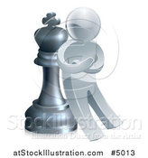 Vector Illustration of a 3d Strategic Silver Man Leaning Against a King Chess Piece by AtStockIllustration