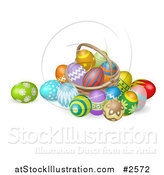 Vector Illustration of a 3d Straw Easter Basket with Eggs by AtStockIllustration