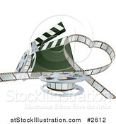 Vector Illustration of a 3d Strip of Movie Film in a Heart with a Clapper and Reels by AtStockIllustration