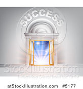 Vector Illustration of a 3d SUCCESS over Open Doors with Light by AtStockIllustration