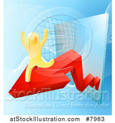 Vector Illustration of a 3d Successful Cheering Gold Man Running on a Red Arrow over Graphs on Blue by AtStockIllustration