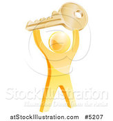 Vector Illustration of a 3d Successful Gold Man Holding up a House Key by AtStockIllustration