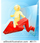 Vector Illustration of a 3d Successful Gold Man Walking on a Red Arrow over Graphs on Blue by AtStockIllustration