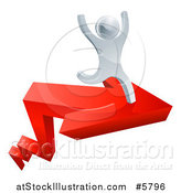 Vector Illustration of a 3d Successful Silver Man Cheering and Running on a Red Arrow by AtStockIllustration