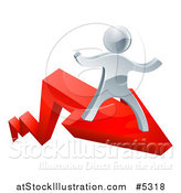 Vector Illustration of a 3d Successful Silver Man Riding on a Red Arrow by AtStockIllustration