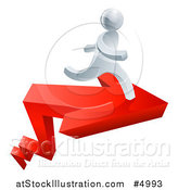 Vector Illustration of a 3d Successful Silver Man Running on a Red Arrow by AtStockIllustration