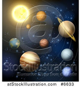 Vector Illustration of a 3d Sun and Solar System Planets by AtStockIllustration