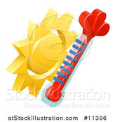 Vector Illustration of a 3d Sun and Thermometer Weather Icon by AtStockIllustration