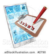 Vector Illustration of a 3d Survey or Checklist over a Cell Phone by AtStockIllustration