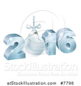 Vector Illustration of a 3d Suspended Blue 2016 for the New Year, with a Bauble by AtStockIllustration