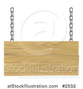 Vector Illustration of a 3d Suspended Wooden Sign with Silver Chains by AtStockIllustration