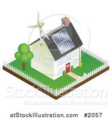 Vector Illustration of a 3d Sustainable Energy Home with Roof Solar Panels and a Wind Turbine by AtStockIllustration