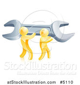 Vector Illustration of a 3d Team of Gold Men Carrying a Giant Spanner Wrench by AtStockIllustration