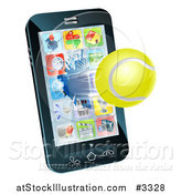 Vector Illustration of a 3d Tennis Ball Flying Through and Breaking a Cell Phone Screen by AtStockIllustration